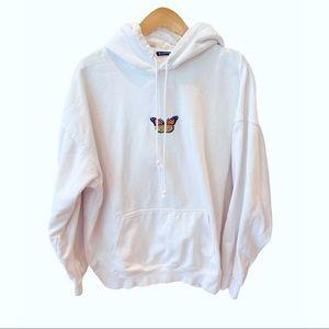 Brandy Melville White Butterfly Hoodie Sweatshirt